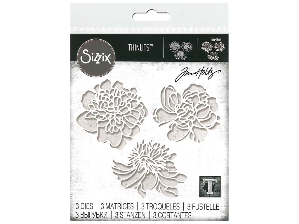 Sizzix Tim Holtz Thinlits Die Set 3 pc. Cutout Blossoms