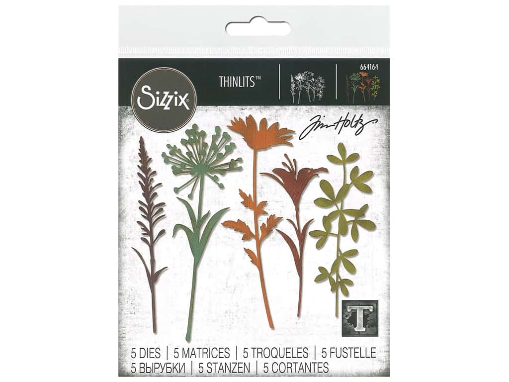Sizzix Tim Holtz Thinlits Die Set 5 pc. Wildflower Stems #2
