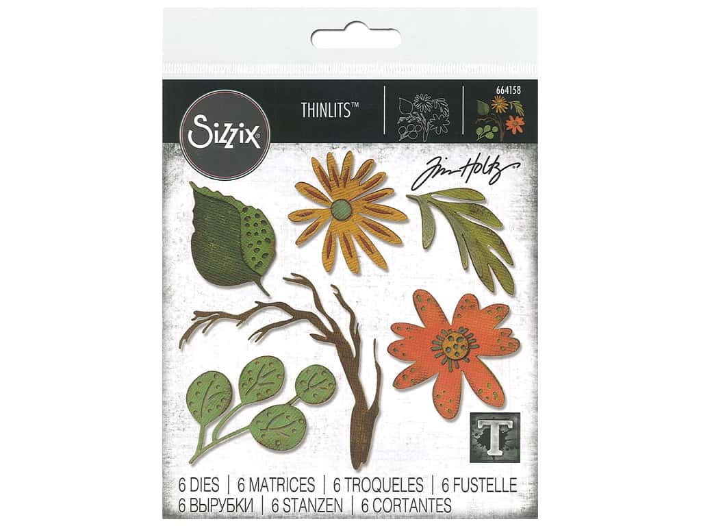 Sizzix Tim Holtz Thinlits Die Set 6 pc. Large Funky Floral