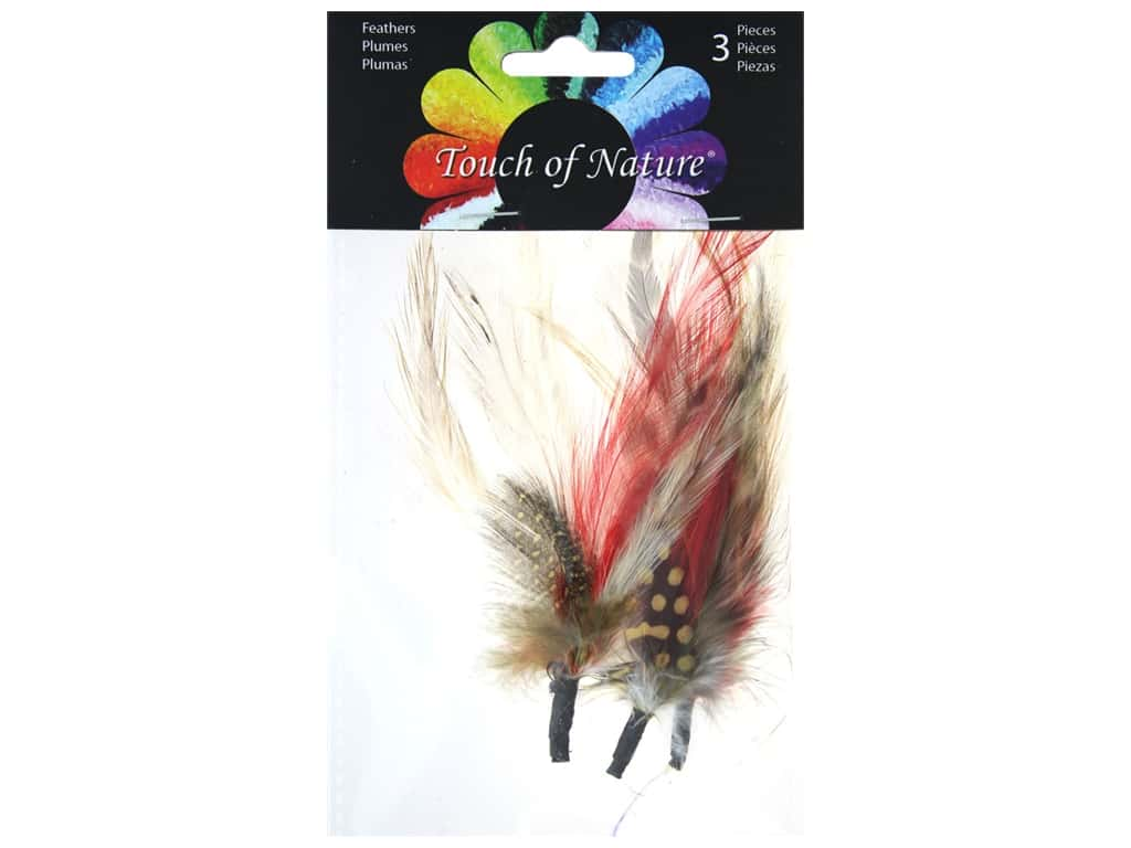 Midwest Design Feather Pick 3 pc. 3 - 7 in. Yellow/Red/Brown