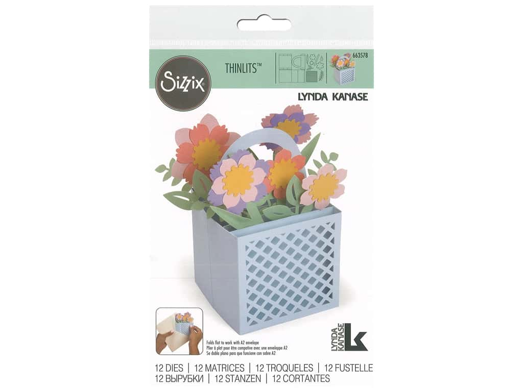 Sizzix Dies Lynda Kanase Thinlits Card Flower Basket