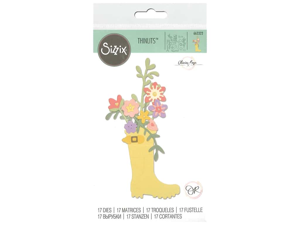 Sizzix Olivia Rose Thinlits Die Set 17 pc. Rain Boot Planter