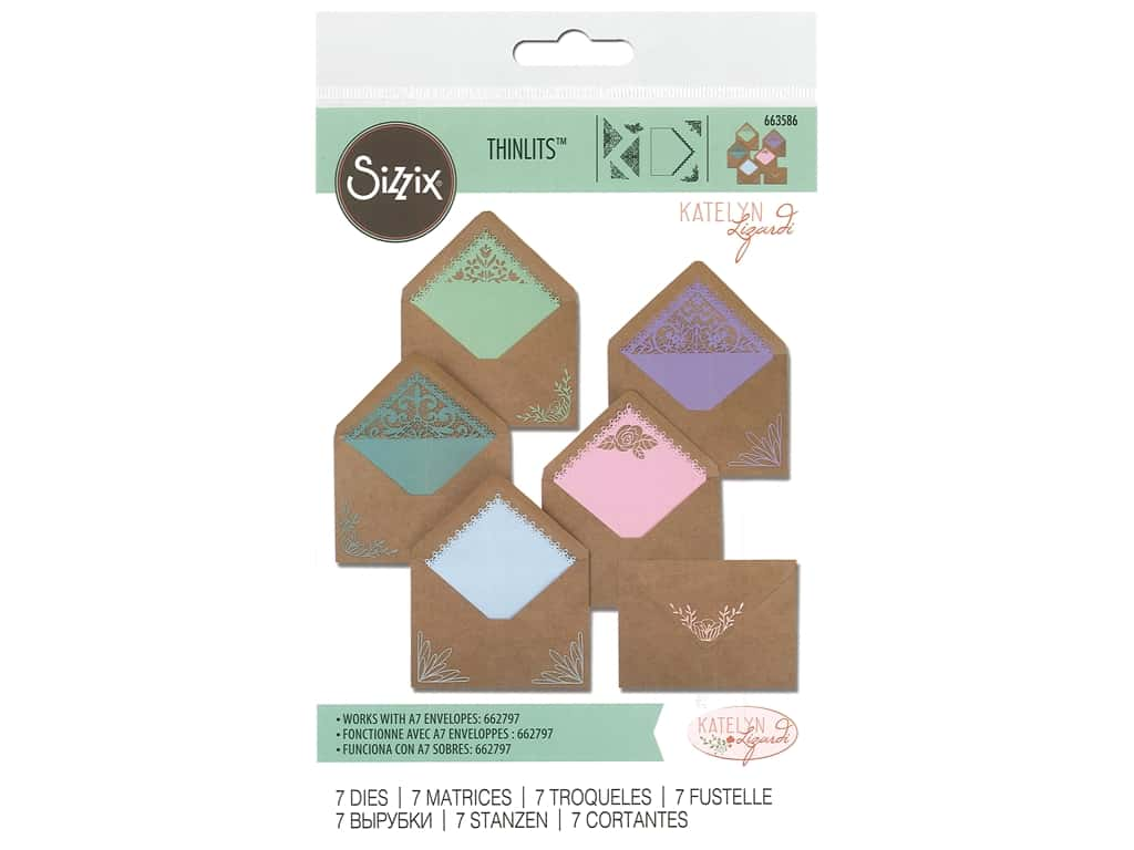 Sizzix Katelyn Lizardi Thinlits Die Set 10 pc. Intricate Envelope Liners A7