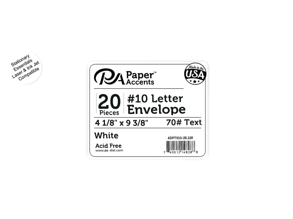 4 x 9 1/4 in. Letter Envelopes by Paper Accents 25 pc. #128 White