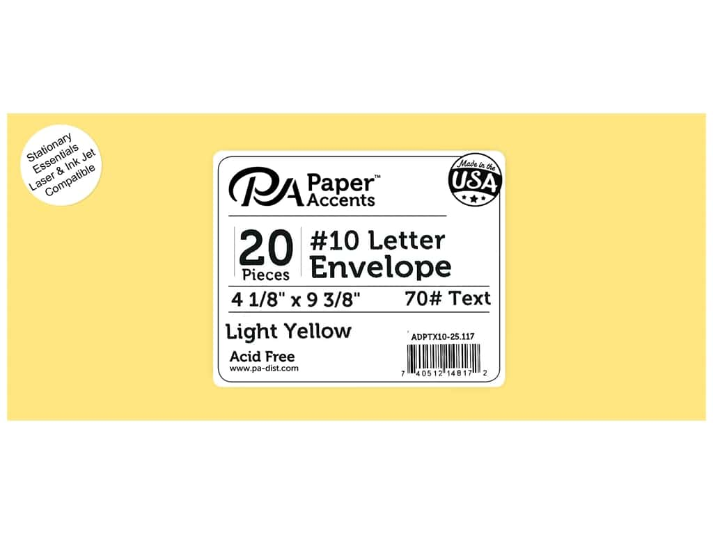 4 x 9 1/4 in. Letter Envelopes by Paper Accents 25 pc. #117 Light Yellow