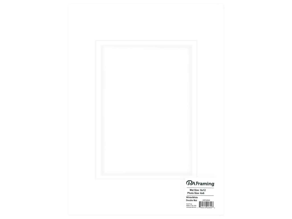 PA Framing Mat Double 9 in. x 12 in. /6 in. x 8 in. White Core White/White