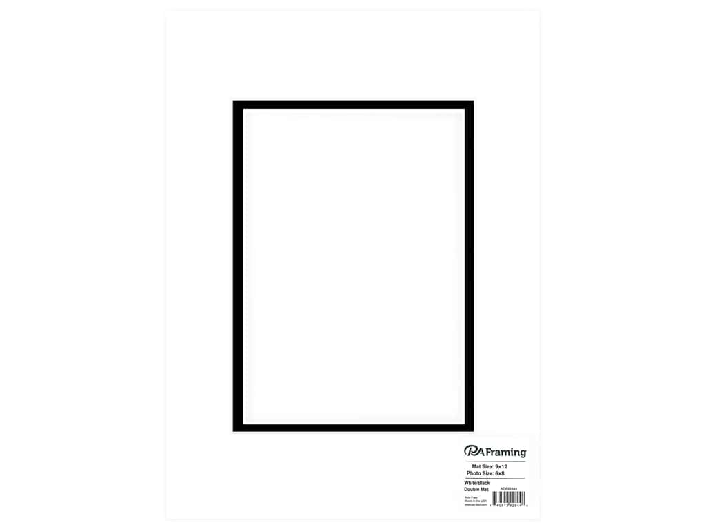 PA Framing Mat Double 9 in. x 12 in. /6 in. x 8 in. White Core White/Black