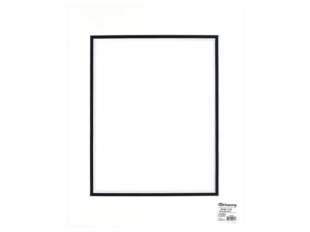 PA Framing Mat Double 11 in. x 14 in. /8 in. x 10 in. White Core Cloud/Black