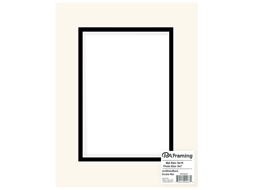 PA Framing Mat Double 8 in. x 10 in. /5 in. x 7 in. White Core Antique White/Black