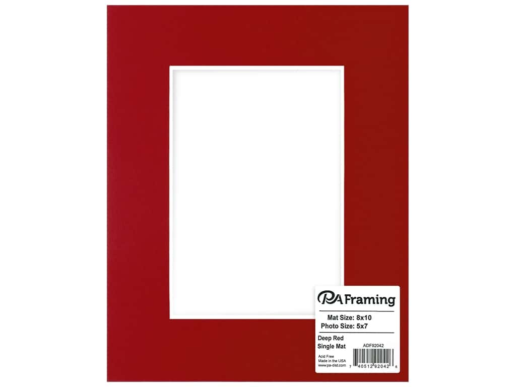 PA Framing Mat White Core 8 in. x 10 in. /5 in. x 7 in. Deep Red