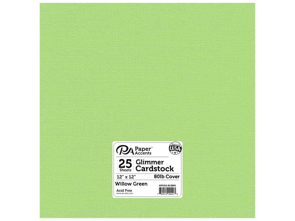 Paper Accents Cardstock 12 x 12 in. #25505 Glimmer Willow Green 25 pc.