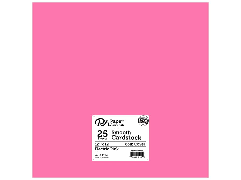 Paper Accents Cardstock 12 x 12 in. #106 Smooth Electric Pink (25 sheets)