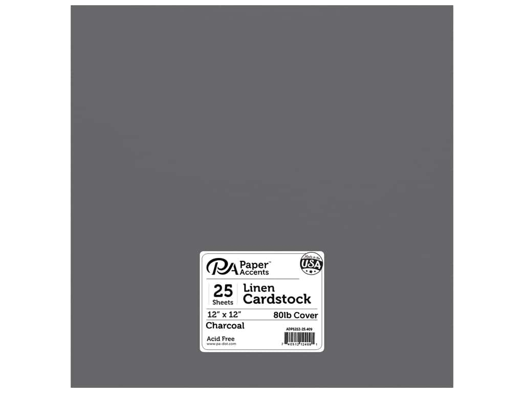 Paper Accents Cardstock 12 x 12 in. #409 Linen Charcoal 25 pc.