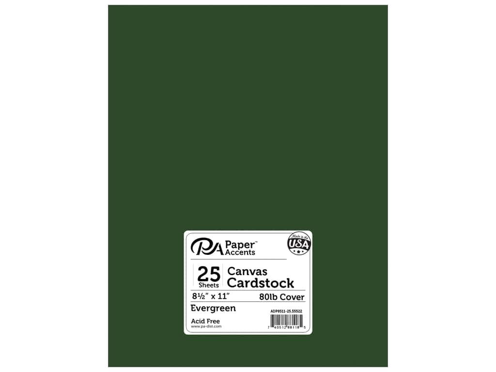 Paper Accents Cardstock 8 1/2 x 11 in. #55522 Canvas Evergreen 25 pc.