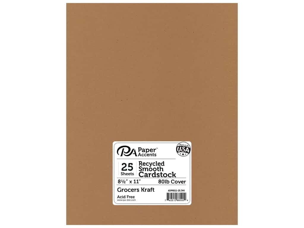 Paper Accents Cardstock 8 1/2 x 11 in. #366 Recycled Grocers Kraft - 80 lb. 25 pc.