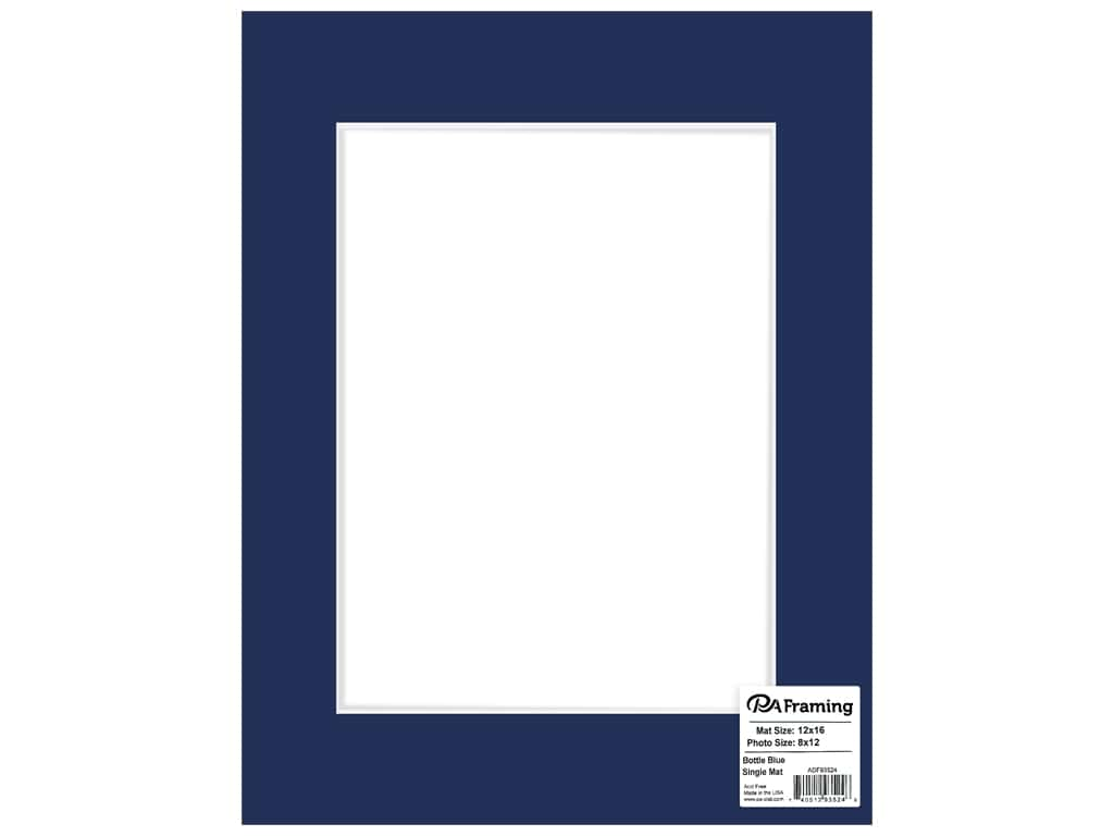 PA Framing Mat White Core 12 in. x 16 in. /8 in. x 12 in. Bottle Blue