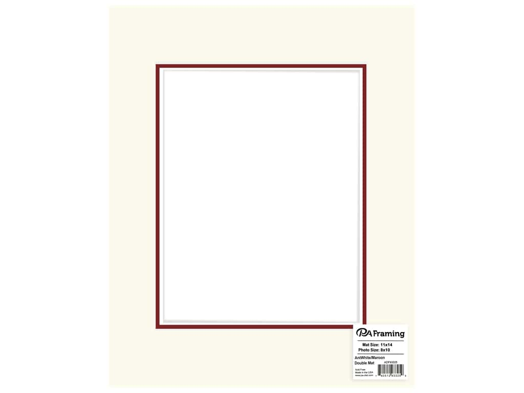 PA Framing Mat Double 11 in. x 14 in. /8 in. x 10 in. White Core Antique White/Maroon