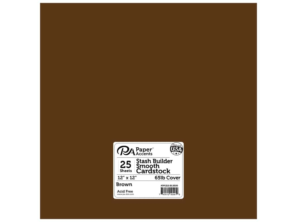 Paper Accents Cardstock 12 x 12 in. #18100 Stash Builder Brown 25 pc.