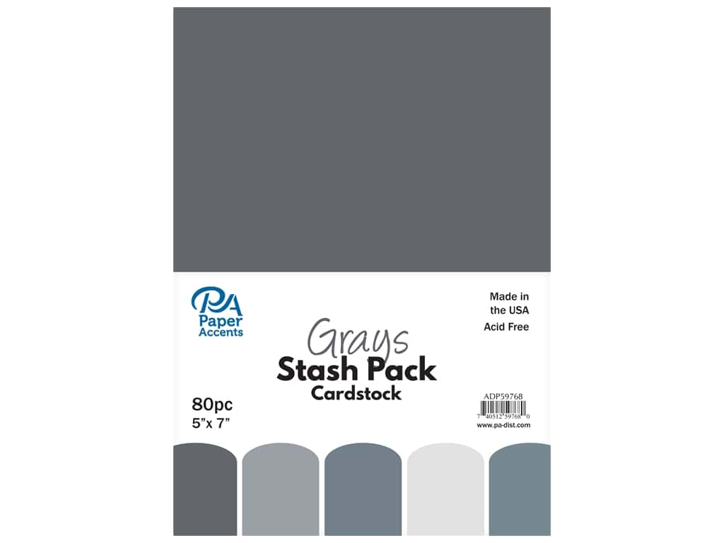 Paper Accents Cardstock Stash Pack 5 x 7 in. Grays 80 pc.