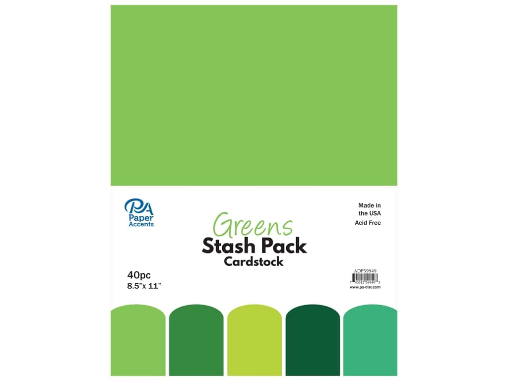 Paper Accents Cardstock Stash Pack 8 1/2 x 11 in. Greens 40 pc.