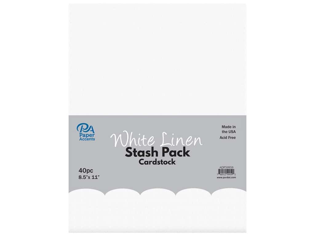 Paper Accents Cardstock Stash Pack 8 1/2 x 11 in. White Linen 40 pc.