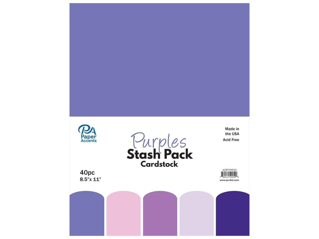 Paper Accents Cardstock Stash Pack 8 1/2 x 11 in. Purples 40 pc.