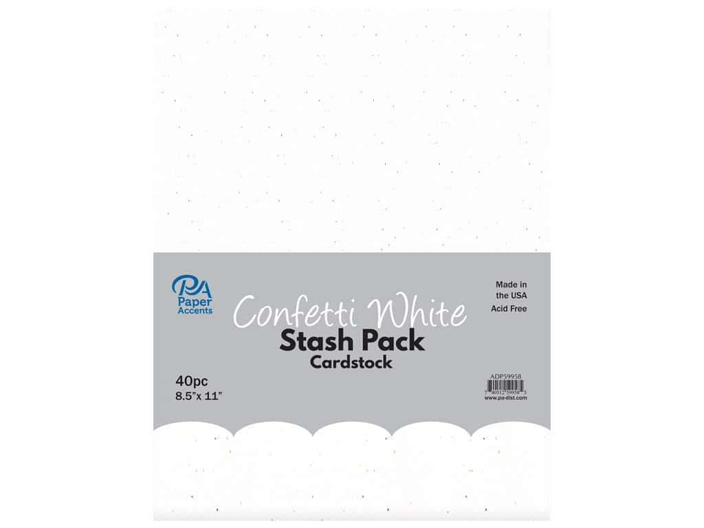 Paper Accents Cardstock Stash Pack 8 1/2 x 11 in. Confetti White 40 pc.