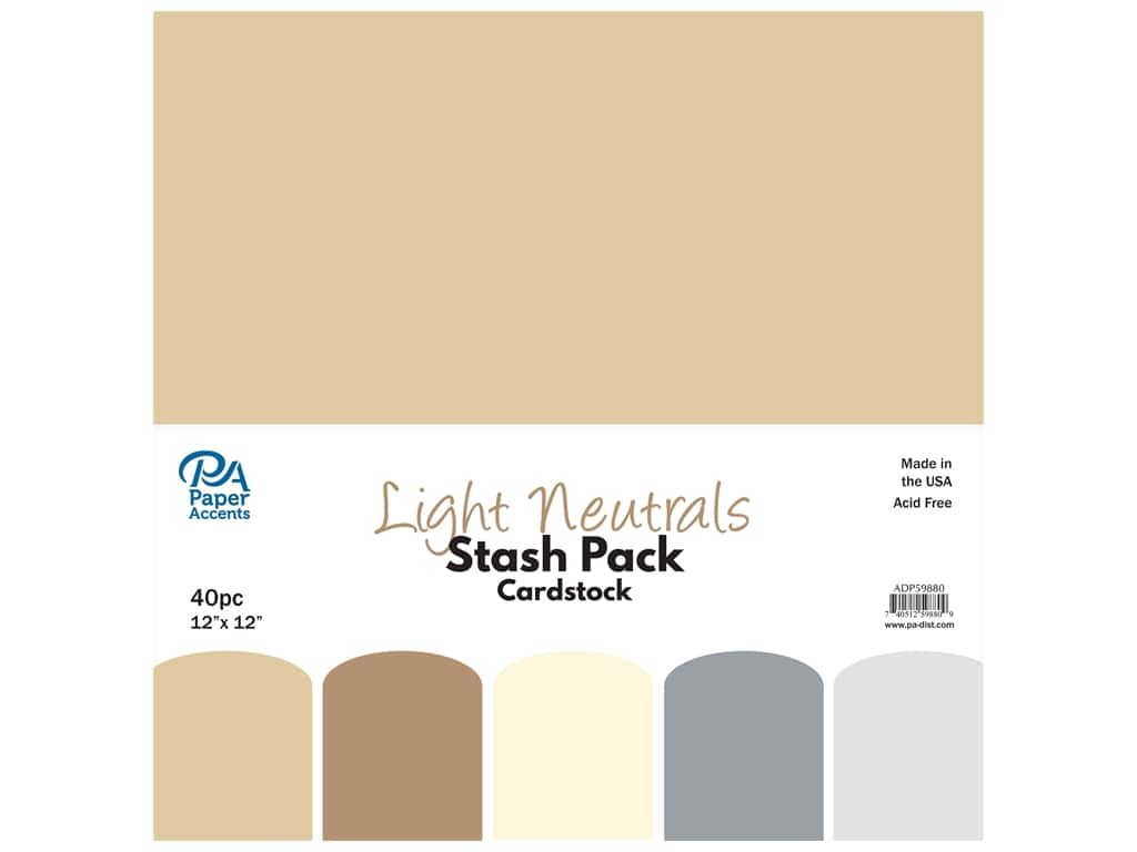 Paper Accents Cardstock Stash Pack 12 x 12 in. Light Neutrals 40 pc.