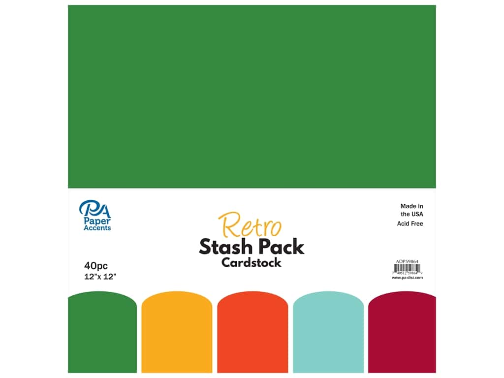 Paper Accents Cardstock Stash Pack 12 x 12 in. Retro 40 pc.