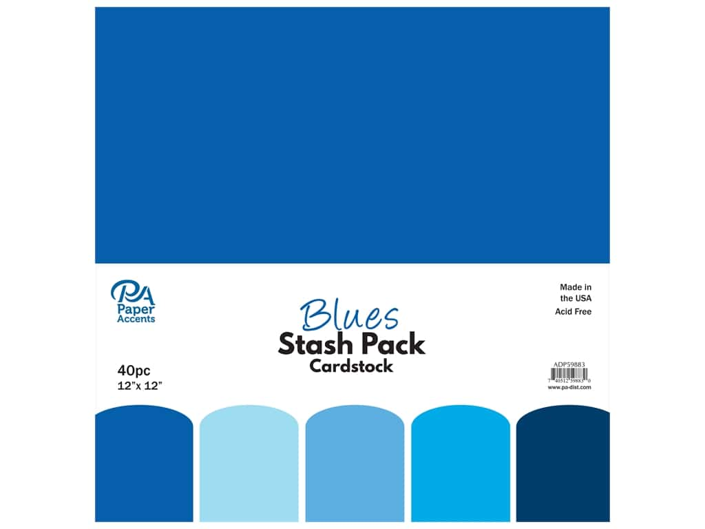 Paper Accents Cardstock Stash Pack 12 x 12 in. Blues 40 pc.