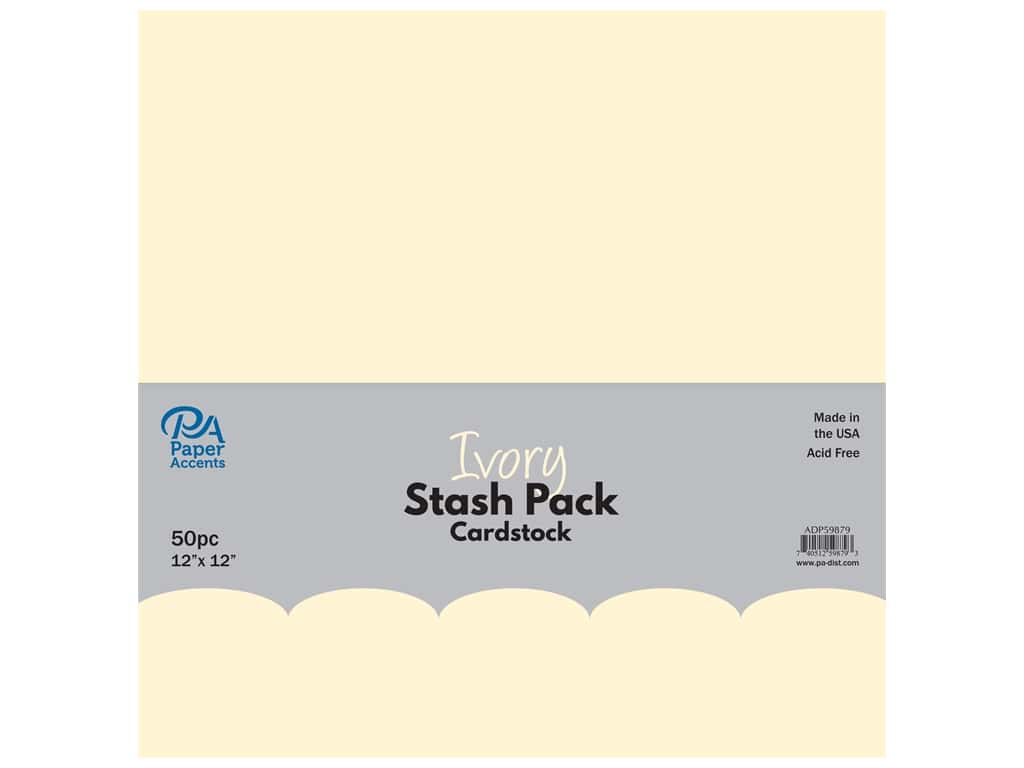 Paper Accents Cardstock Stash Pack 12 x 12 in. Ivory 50 pc.