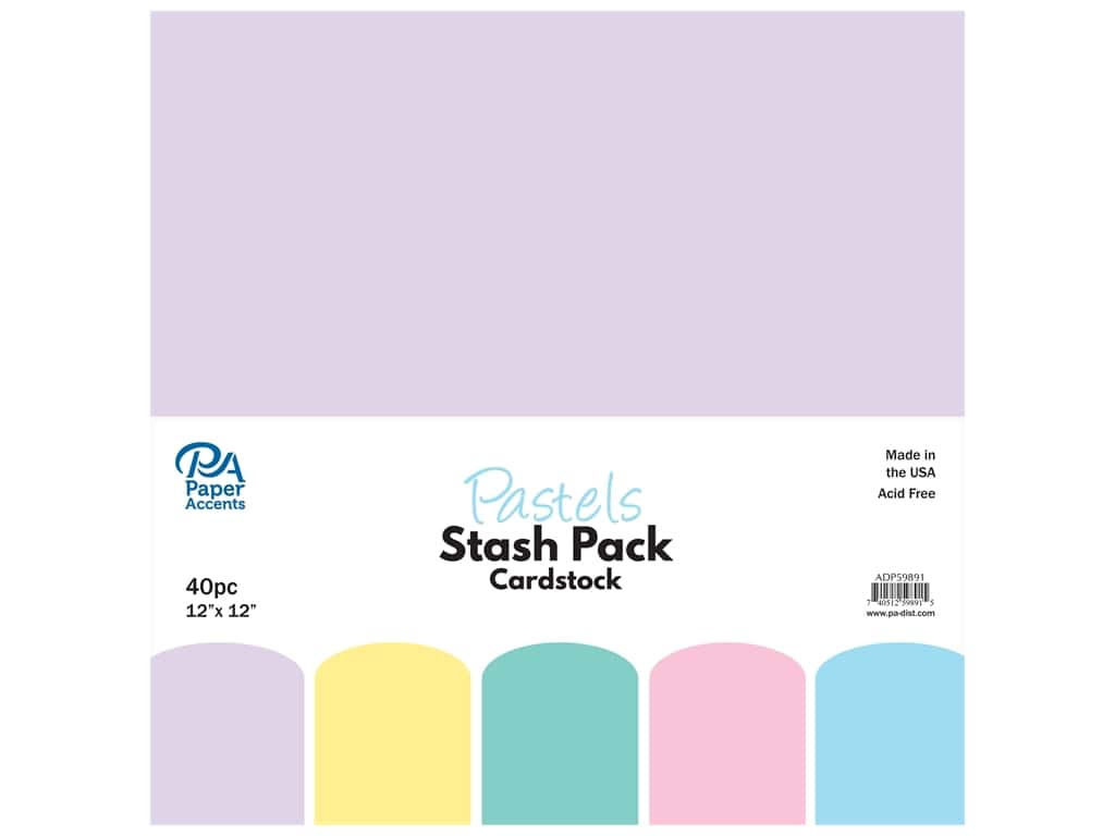 Paper Accents Cardstock Stash Pack 12 x 12 in. Pastels 40 pc.