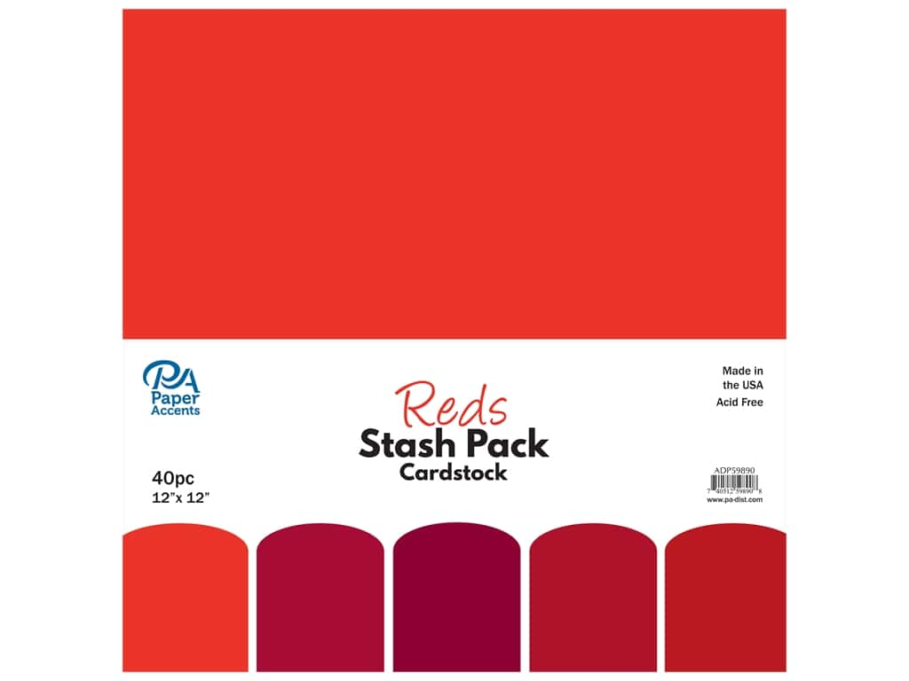 Paper Accents Cardstock Stash Pack 12 x 12 in. Reds 40 pc.