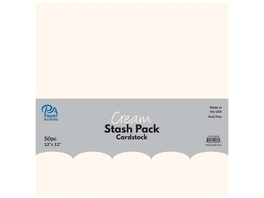 Paper Accents Cardstock Stash Pack 12 x 12 in. Cream 50 pc.