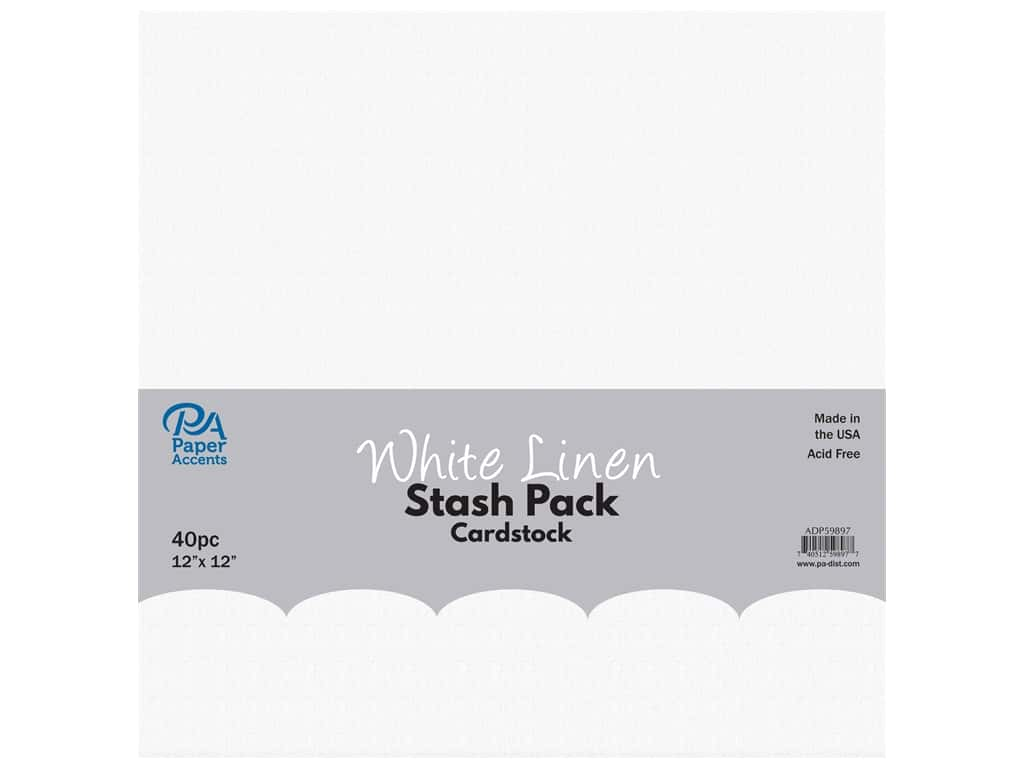 Paper Accents Cardstock Stash Pack 12 x 12 in. White Linen 40 pc.