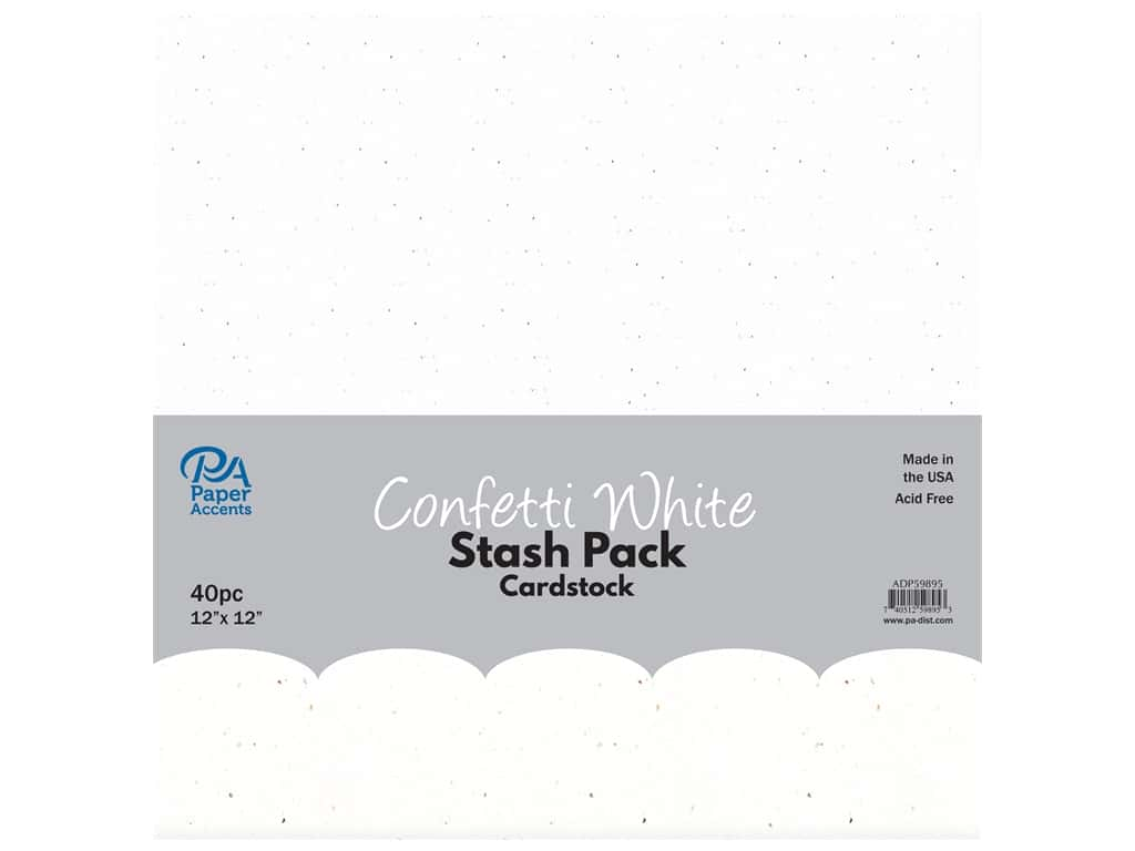 Paper Accents Cardstock Stash Pack 12 x 12 in. Confetti White 40 pc.