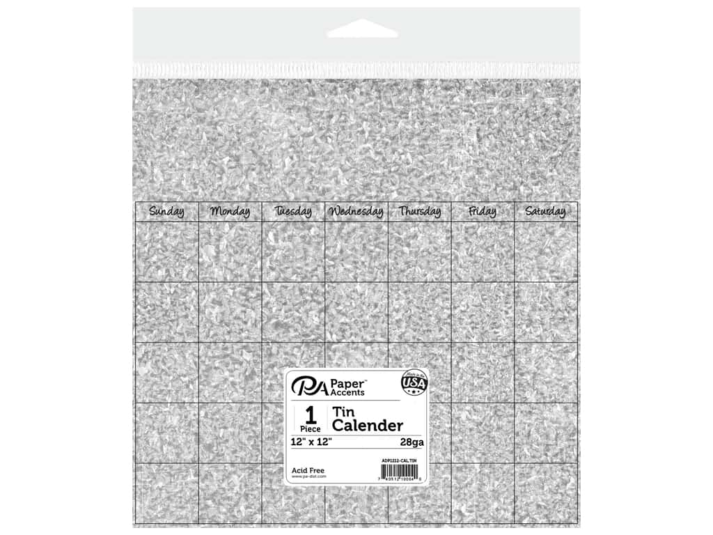 Paper Accents Calendar Page 12 x12 in. Tin 1 pc.
