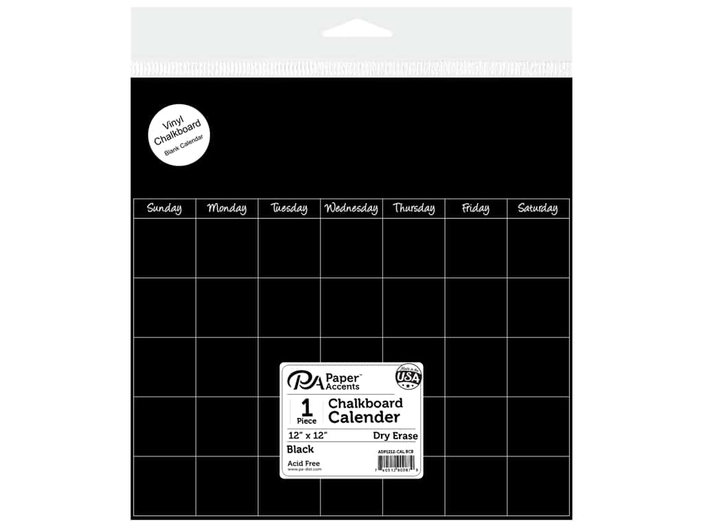 Paper Accents Adhesive Vinyl Calendar Page 12 x 12 in  Removeable  Chalkboard 1