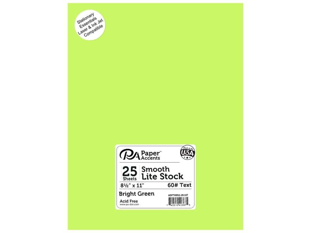 Paper Accents Stationery 8 1/2 x 11 in. Bright Green 25 pc.