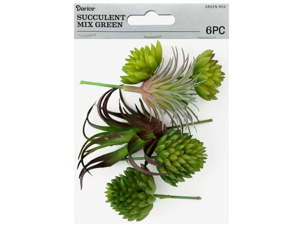 Darice Artificial Succulent Multipack 6 pc. Assorted Green & Red