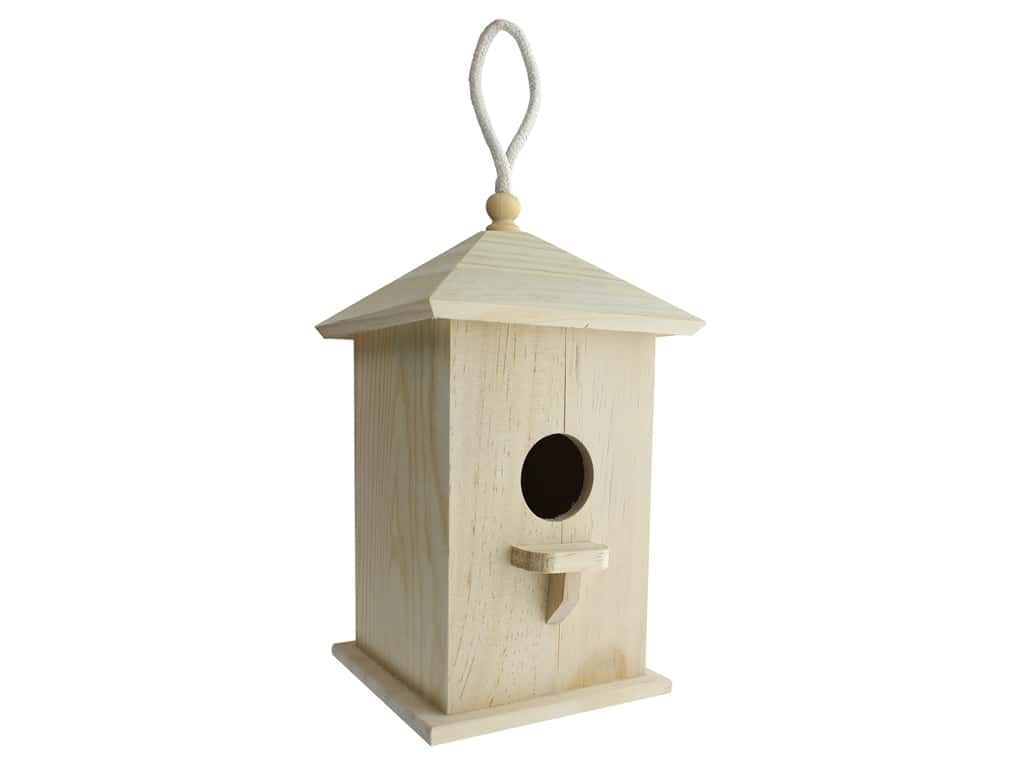 Darice Wooden Birdhouse with Perch 5 x 8 3/4 in.