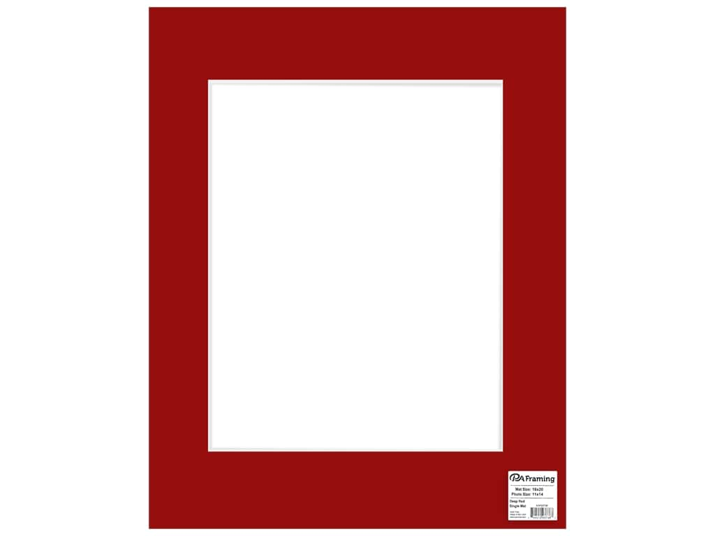 PA Framing Mat 16 in. x 20 in. /11 in. x 14 in. White Core Deep Red