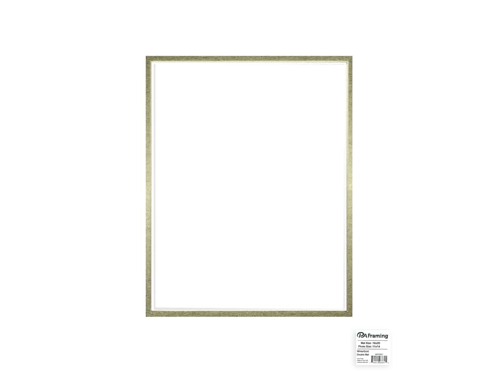 PA Framing Mat Double 16 in. x 20 in. /11 in. x 14 in. White Core White/Gold