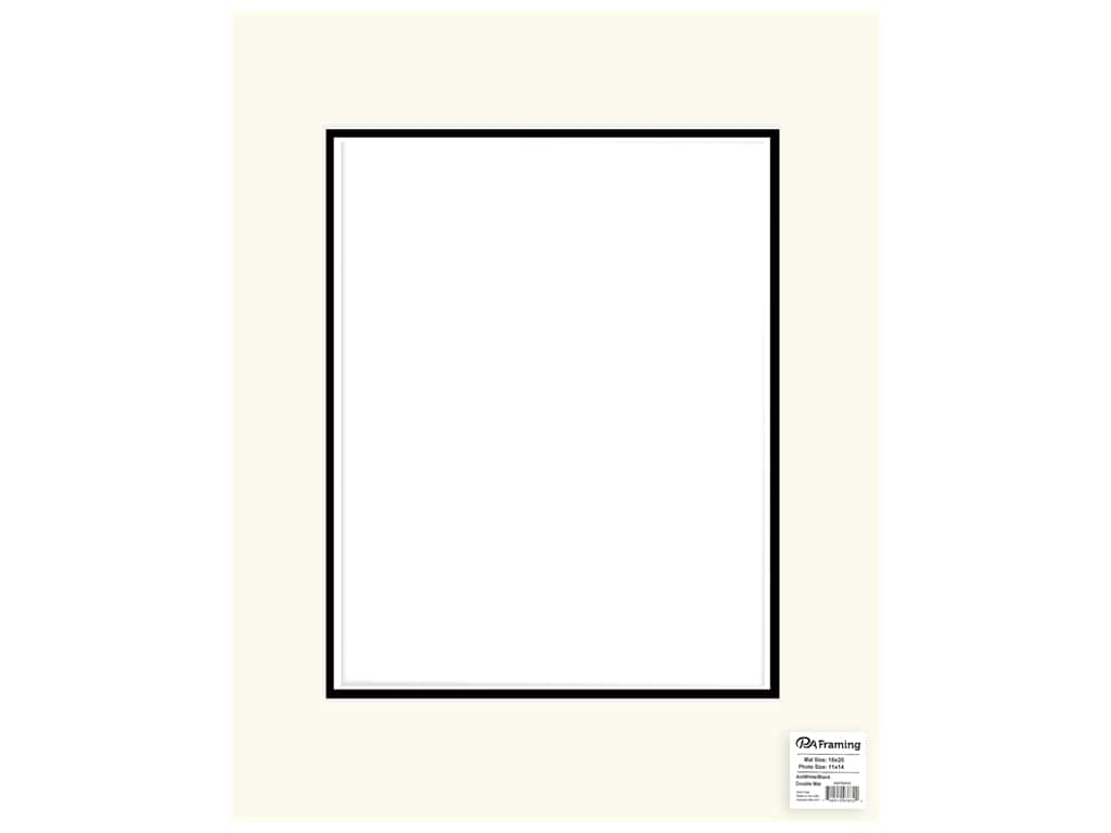 PA Framing Mat Double 16 in. x 20 in. /11 in. x 14 in. White Core Antique White/Black