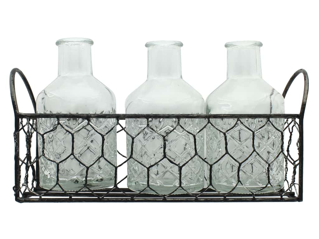 Darice Embossed Glass Jars in Chicken Wire Crate