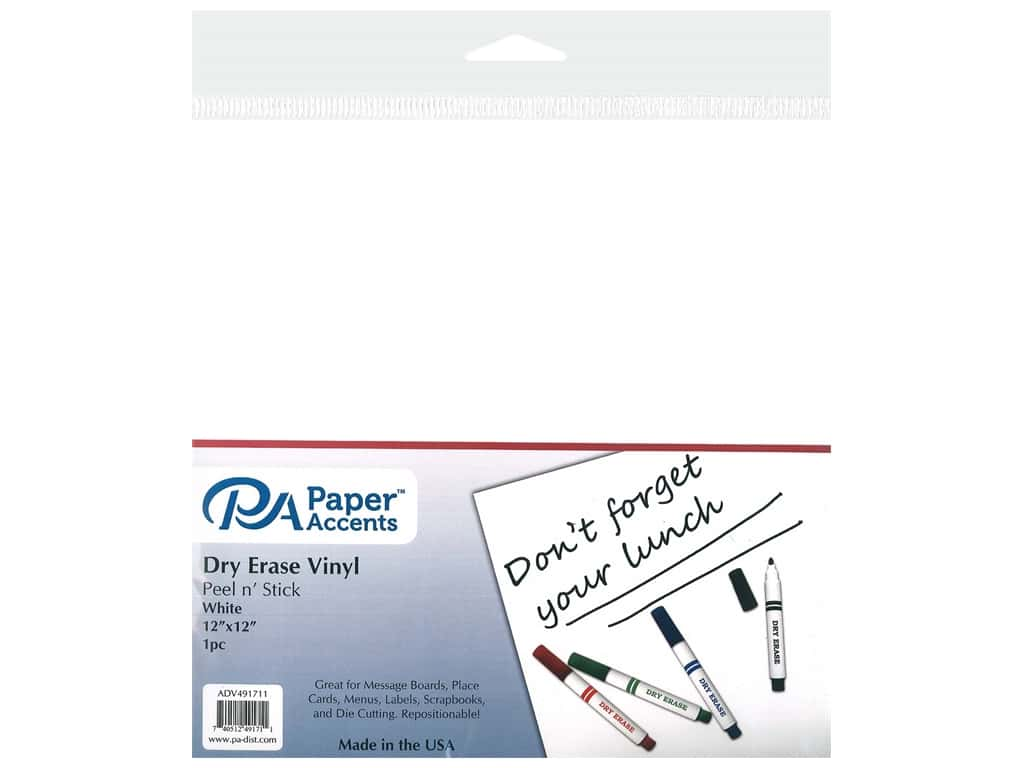 PA Adhesive Vinyl 12 x 12 in. Removable White Dry Erase