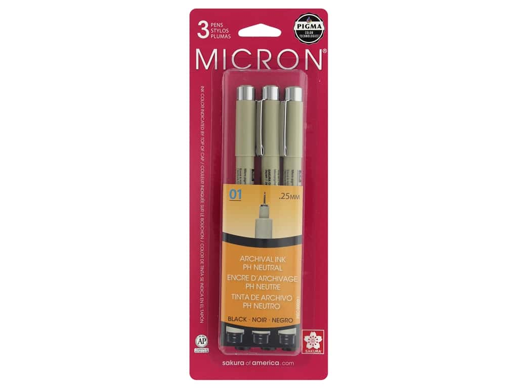 Sakura Pigma Micron Pen 01 Black 3 pc