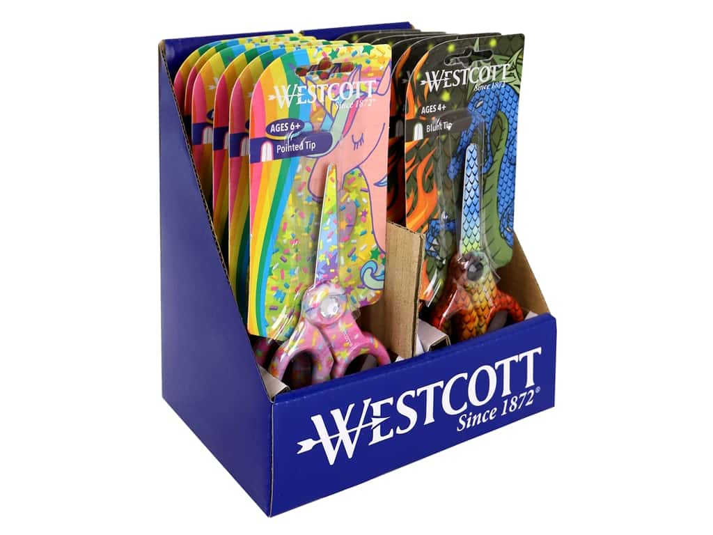 Westcott Scissors 5 in. Unicorn And Dragon POP Assorted (12 pieces)