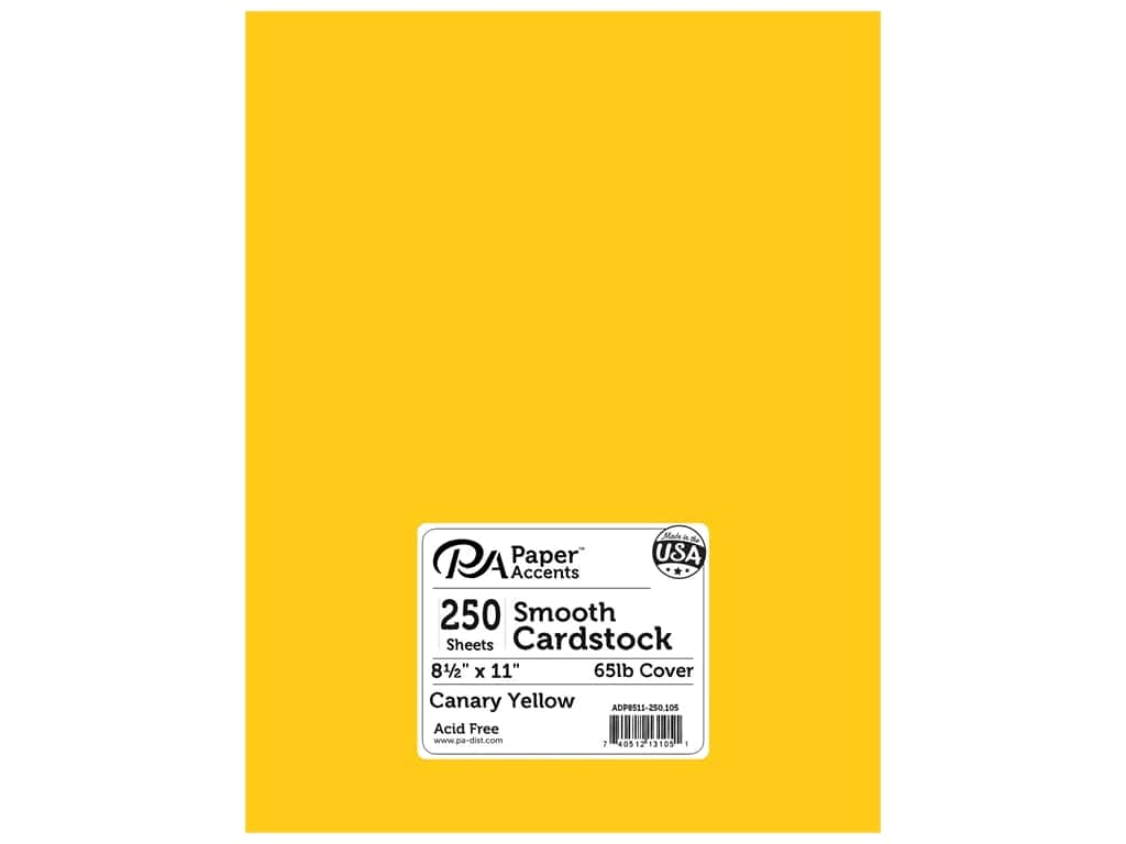 Paper Accents Cardstock 8 1/2 x 11 in. #105 Smooth Canary Yellow 250 pc.