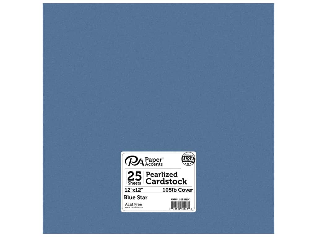Paper Accents  Cardstock 12 x 12 in. #8861C Pearlized Blue Star 25 pc.